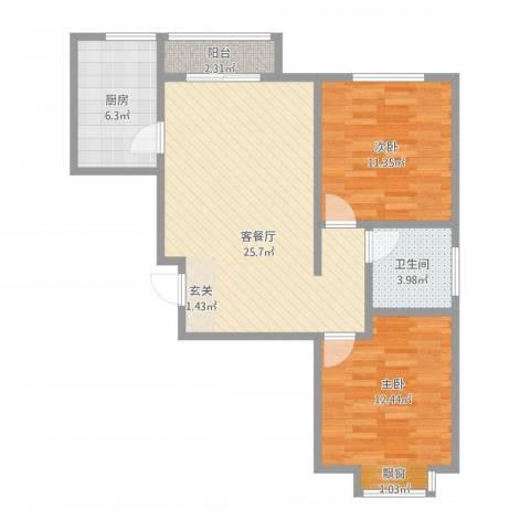 宝带新村2室1厅1卫1厨87.00㎡户型图