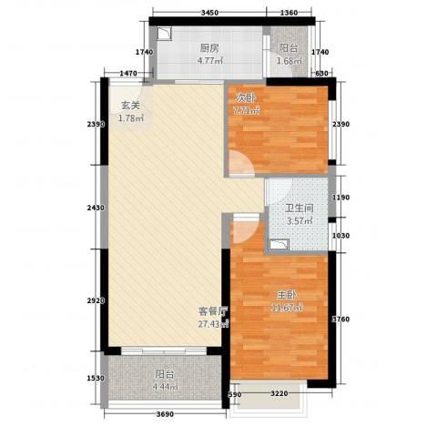 平湖恒大名都2室1厅1卫1厨88.00㎡户型图