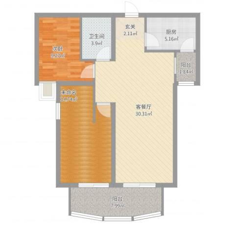 金吉华冠苑1室1厅1卫1厨104.00㎡户型图