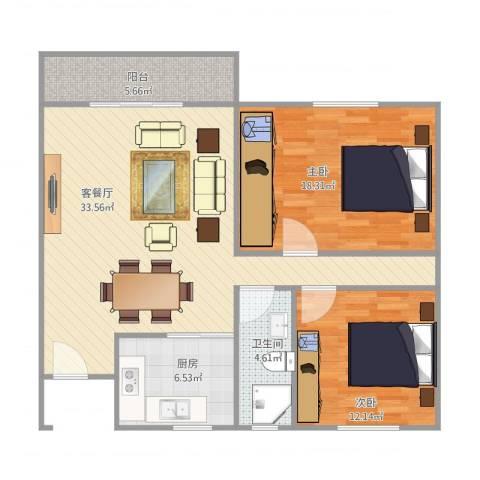 白鹭花园2室1厅1卫1厨108.00㎡户型图