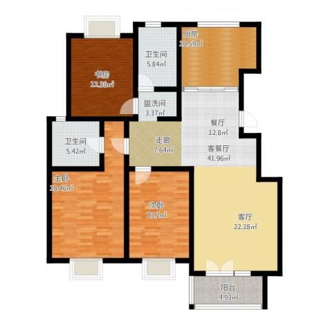 太湖普罗旺斯3室1厅2卫1厨161.00㎡户型图