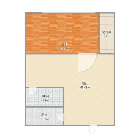 中豪国际大厦1室1厅1卫1厨128.00㎡户型图