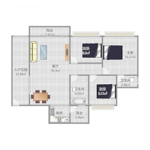 朗晴假日四期19栋3室1厅2卫1厨138.00㎡户型图