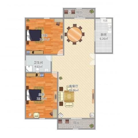好日子大家园D区2室1厅1卫1厨116.00㎡户型图