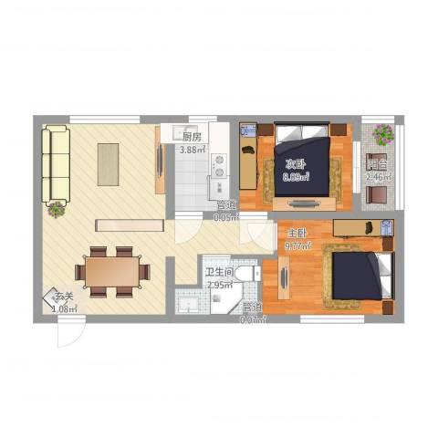燕大星苑红树湾2室1厅1卫1厨73.00㎡户型图