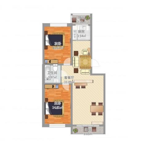 新苑小区2室1厅1卫1厨105.00㎡户型图