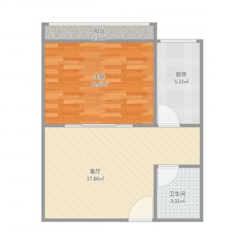 青塔芳园1室1厅1卫1厨58.00㎡户型图