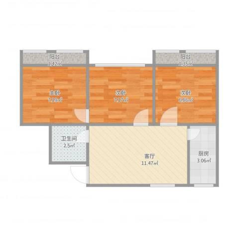 宁桥里3室1厅1卫1厨57.00㎡户型图