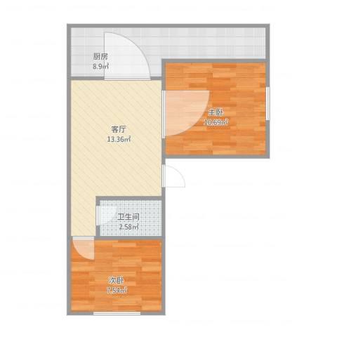 红棉新村2室1厅1卫1厨59.00㎡户型图
