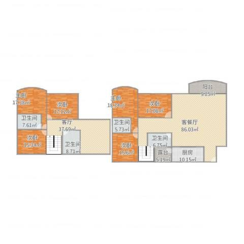 祈福南湾半岛别墅6室2厅4卫1厨369.00㎡户型图