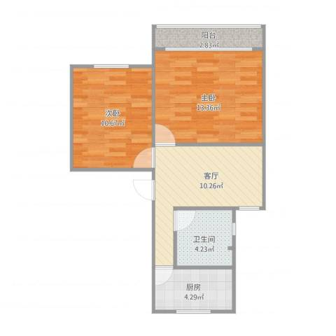 栖山小区1861弄2室1厅1卫1厨62.00㎡户型图