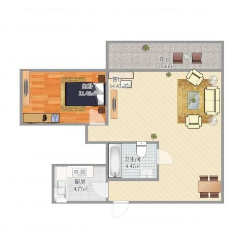 康怡花园1室1厅1卫1厨85.00㎡户型图