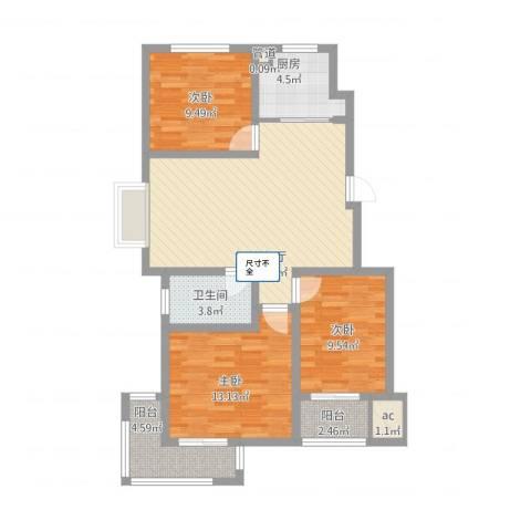 泰和名都3室1厅1卫1厨108.00㎡户型图