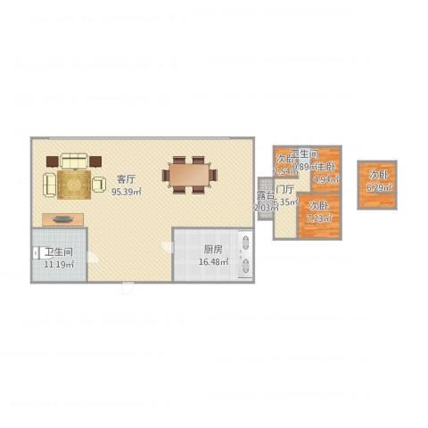 温馨家园4室1厅2卫1厨202.00㎡户型图