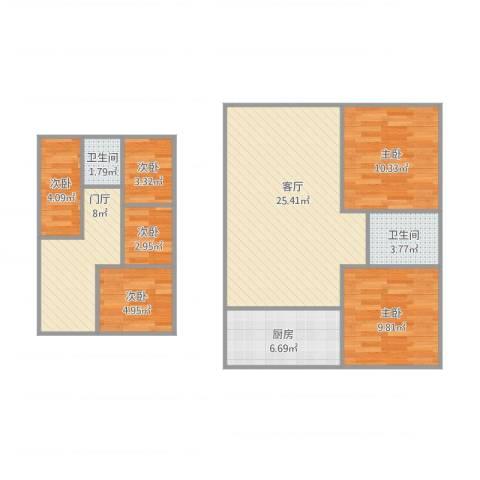 温馨家园6室1厅2卫1厨110.00㎡户型图