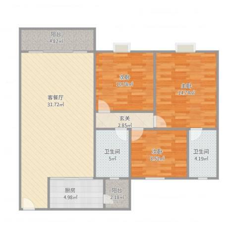 康格斯花园3室1厅2卫1厨121.00㎡户型图