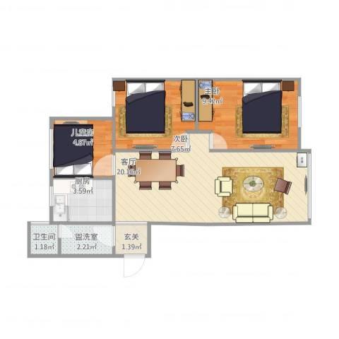 花土湾3室2厅1卫1厨69.00㎡户型图