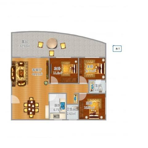 明发国际新城3室1厅2卫1厨163.00㎡户型图