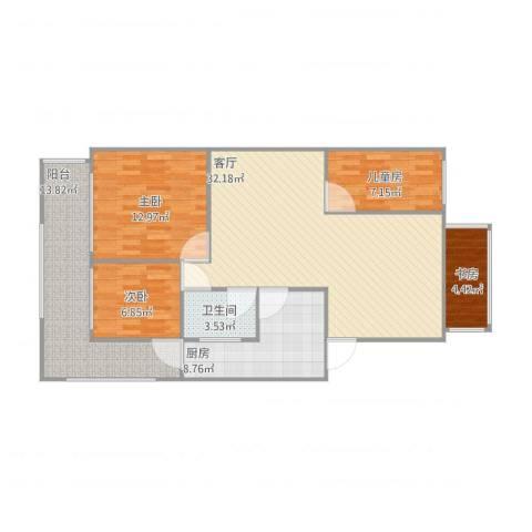 信海花园4室1厅1卫1厨121.00㎡户型图