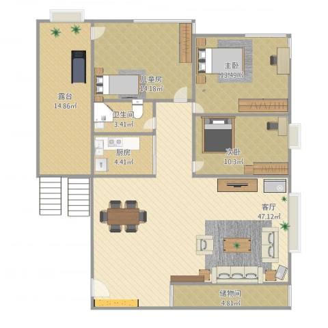 华瑞花园二期3室1厅1卫1厨150.00㎡户型图