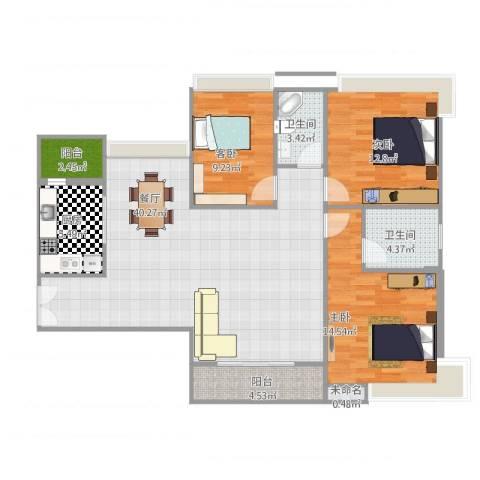 中山丽景名筑3室1厅2卫1厨132.00㎡户型图