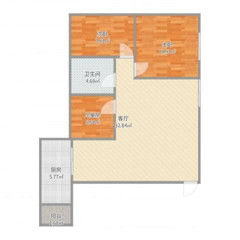 南京桥西苑3室1厅1卫1厨94.00㎡户型图