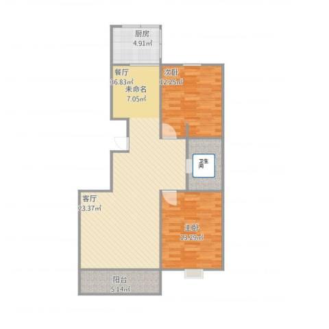 盛豪御景2室1厅1卫1厨104.00㎡户型图