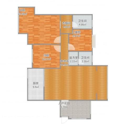 凤凰新城3室1厅4卫2厨165.00㎡户型图