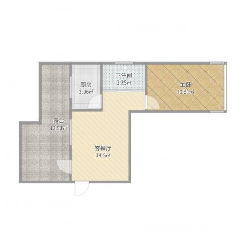 铭仁家园1室1厅1卫1厨63.00㎡户型图