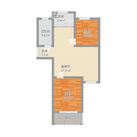 天颐郦城2室1厅1卫1厨88.00㎡户型图