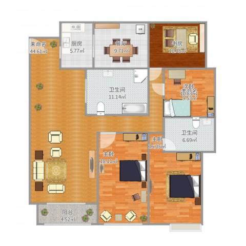 保利花园二期3室1厅2卫1厨183.00㎡户型图