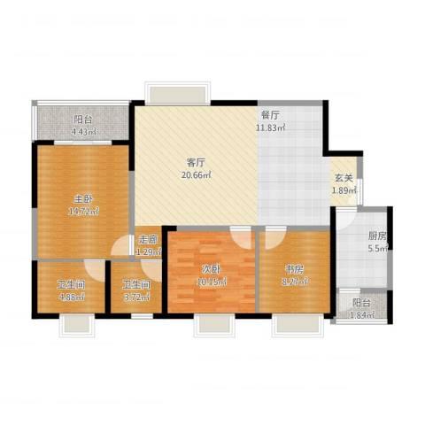 美都香域3室1厅2卫1厨125.00㎡户型图