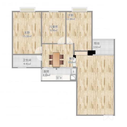 育龙居3室1厅1卫1厨120.00㎡户型图