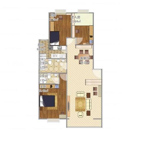 北京人家2室1厅2卫1厨145.00㎡户型图