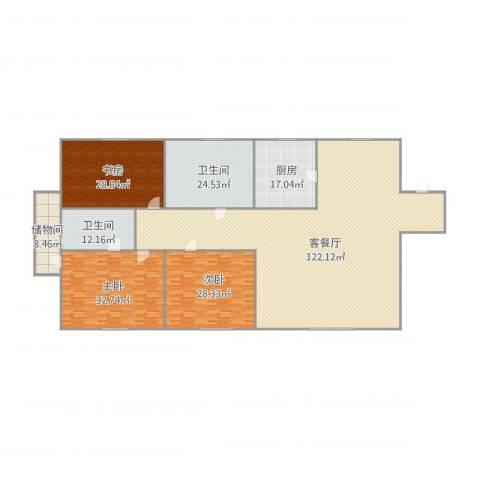 金华园3室1厅2卫1厨357.00㎡户型图