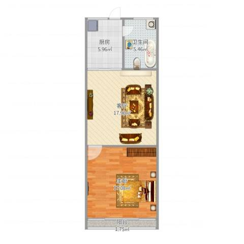 绿星小区1室1厅1卫1厨65.00㎡户型图