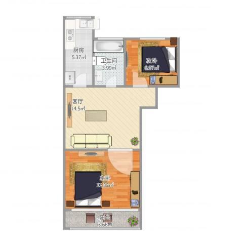 龙沟新苑2室1厅1卫1厨64.00㎡户型图