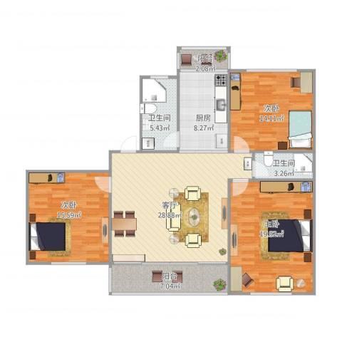 恒大华城上河苑3室1厅2卫1厨140.00㎡户型图