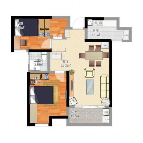 幸福里程2室1厅1卫1厨80.00㎡户型图