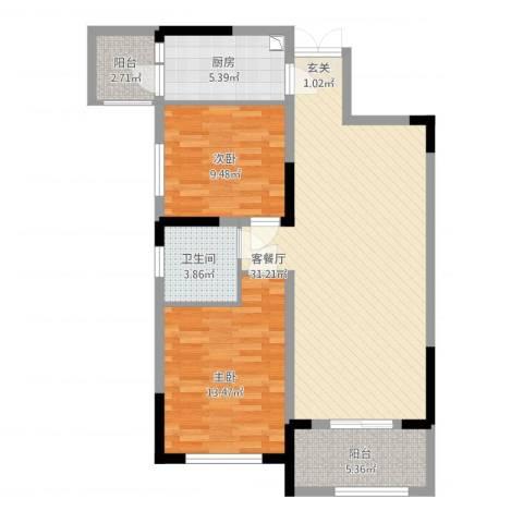 华仪富丽华城2室1厅1卫1厨102.00㎡户型图