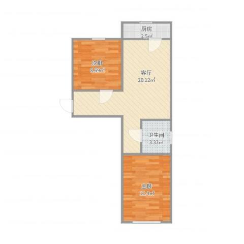 普康里2室1厅1卫1厨63.00㎡户型图