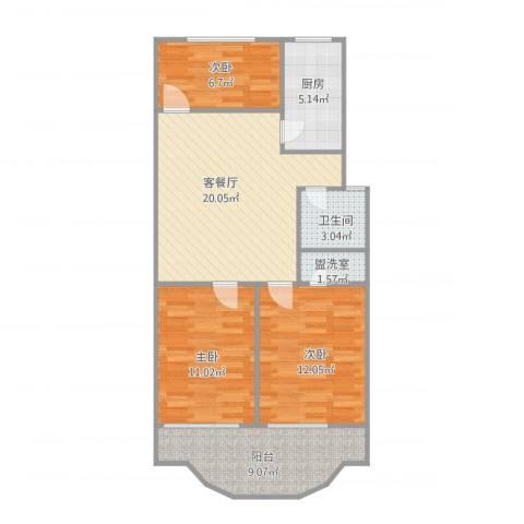 都市花园3室2厅1卫1厨93.00㎡户型图