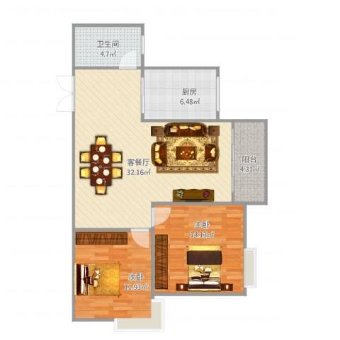 金色世纪逸城32-72室1厅1卫1厨99.00㎡户型图