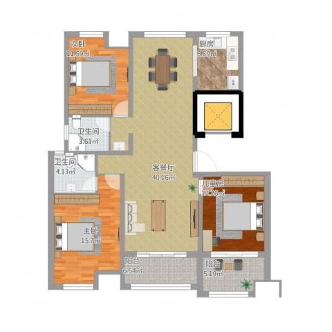 天瑞绿洲3室1厅2卫1厨131.00㎡户型图