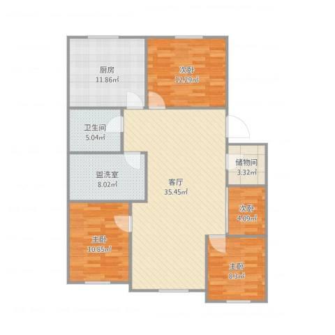 青松北里4室2厅1卫1厨133.00㎡户型图