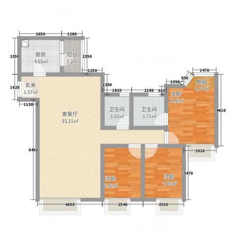 新世界东逸花园蓝谷3室1厅2卫1厨110.00㎡户型图