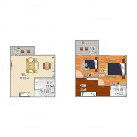 云景花园云桂苑3室1厅2卫1厨157.00㎡户型图