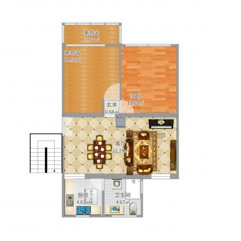 龙柏三村1室1厅3卫1厨85.00㎡户型图