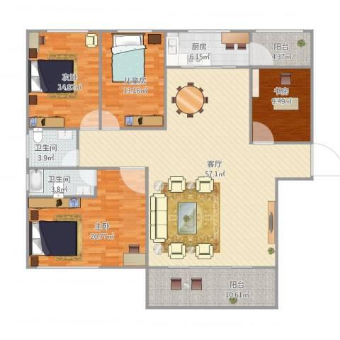 云山熹景4室1厅2卫1厨192.00㎡户型图