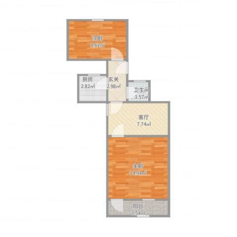 工人新村2室1厅1卫1厨58.00㎡户型图